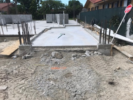 Slab Pour, showing garage and step up to finish floor